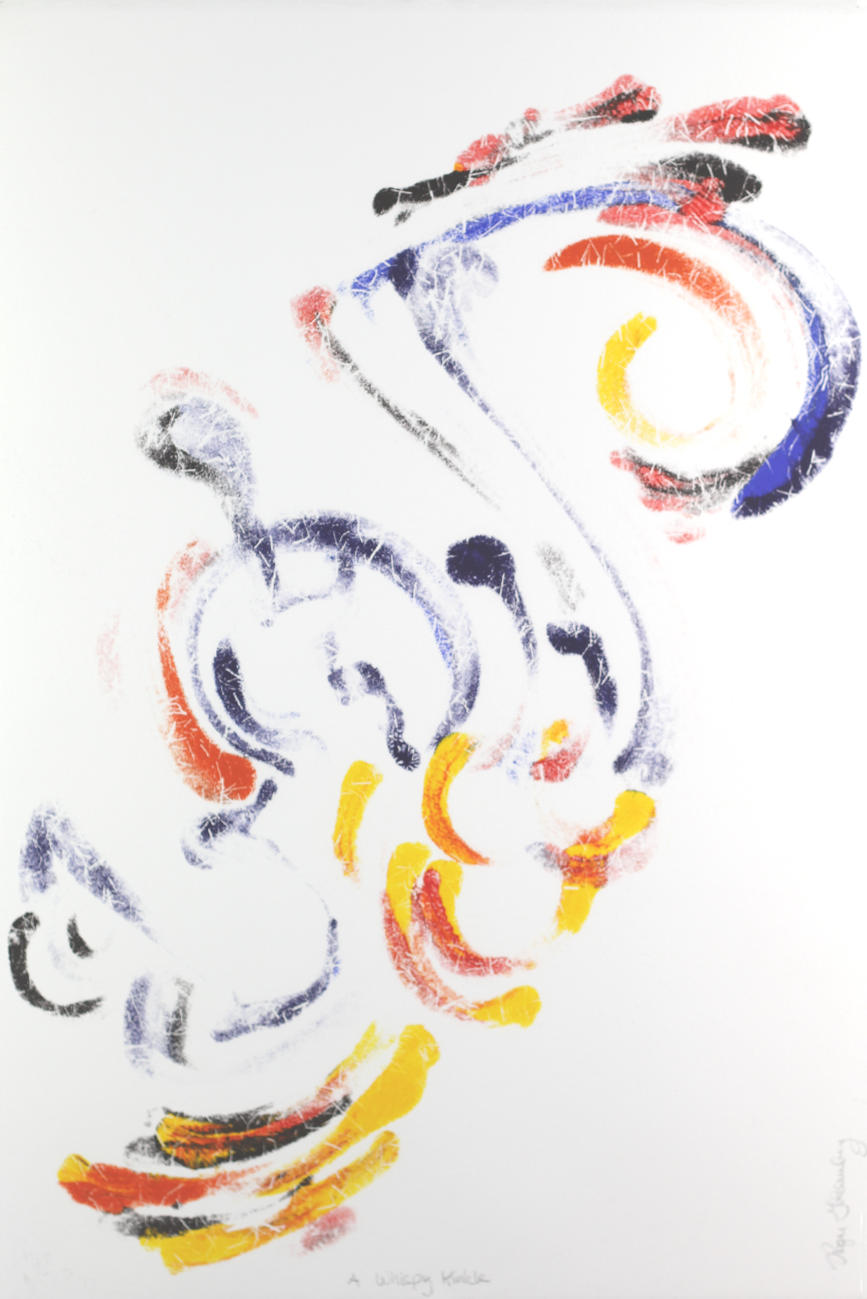 Roger Goldenberg's Visual Jazz Monotype Gallery C has prints pulled from shaped plates. Their style riffs on Goldenberg's shaped visual jazz paintings A Winky Kinkle