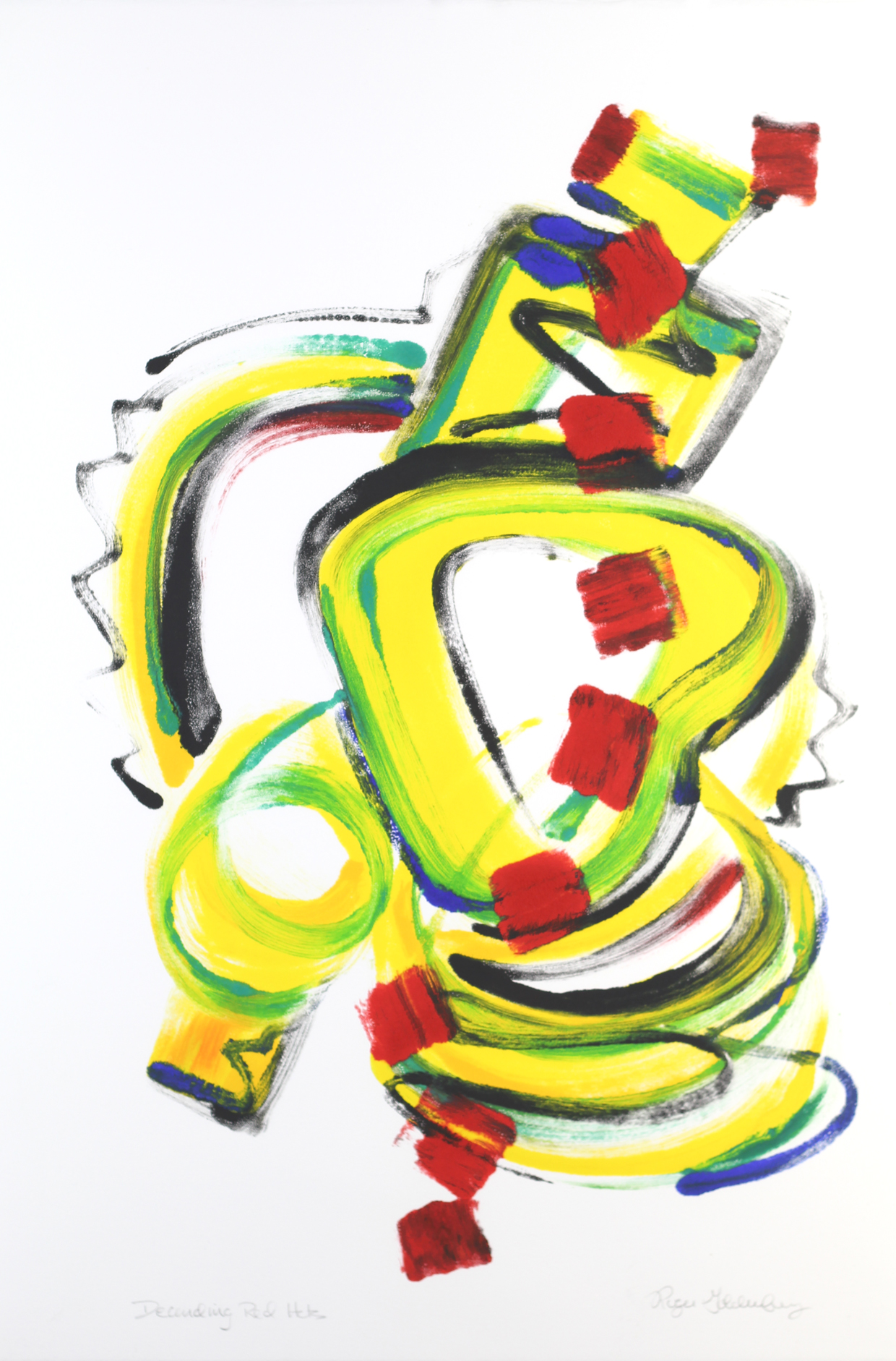 Roger Goldenberg's Visual Jazz Monotype Gallery C has prints pulled from shaped plates. Their style riffs on Goldenberg's shaped visual jazz paintings  Descending Red Hots