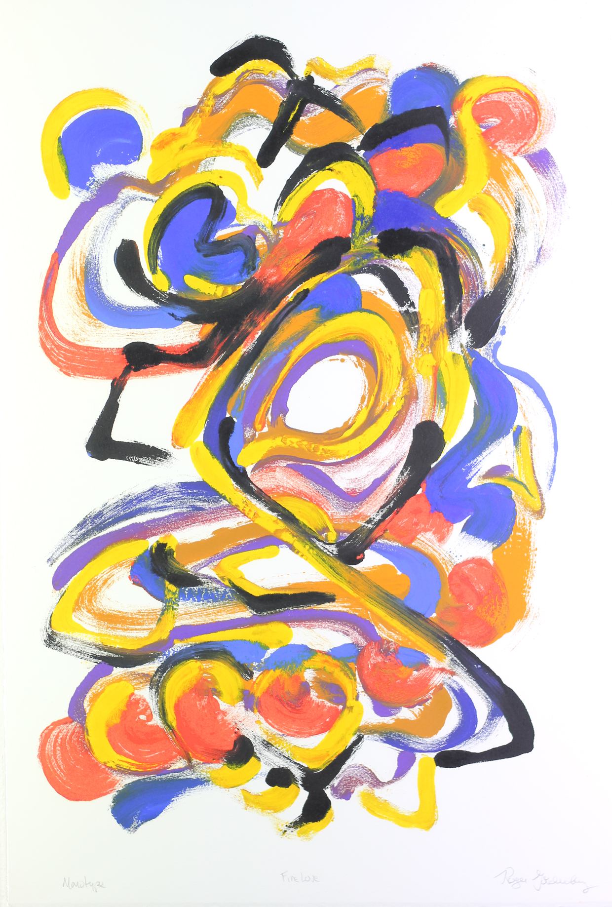 Roger Goldenberg's Visual Jazz Monotype Gallery D has prints pulled from shaped plates. Their style riffs on Goldenberg's shaped visual jazz paintings Fire Love