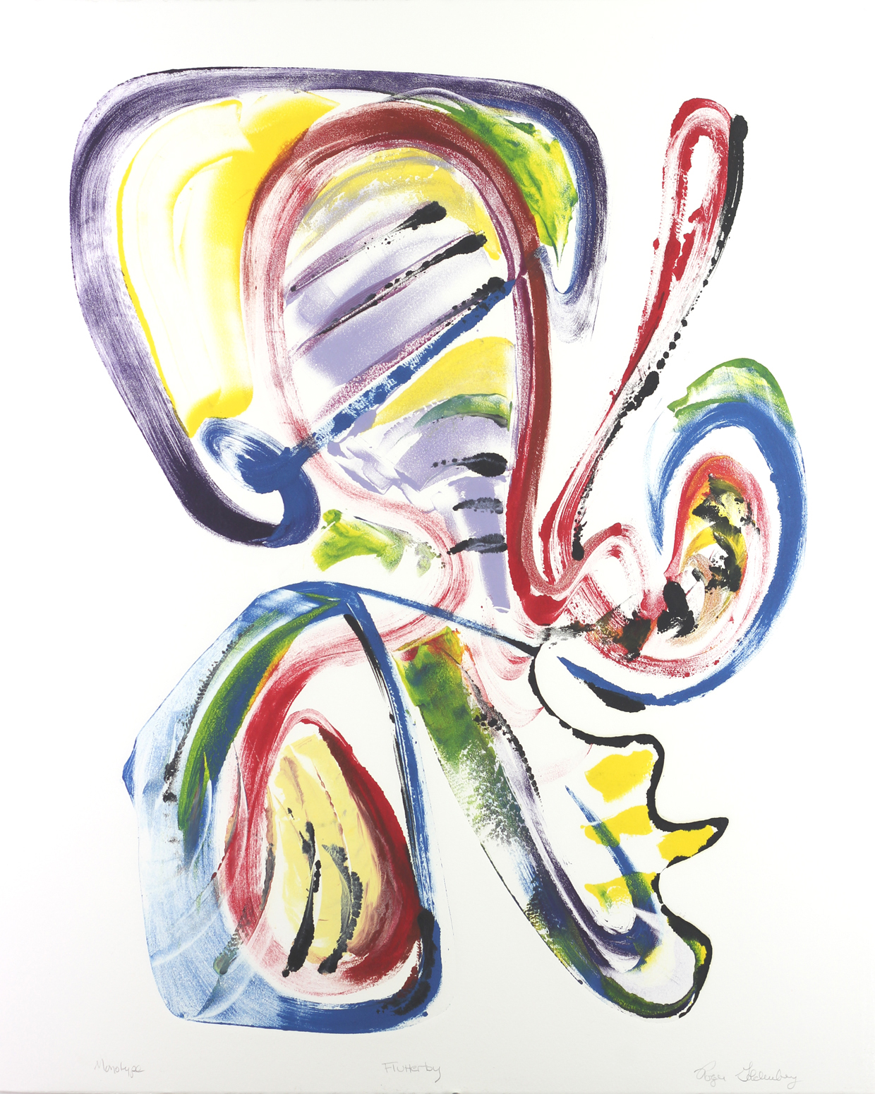 Roger Goldenberg's Visual Jazz Monotype Gallery D has prints pulled from shaped plates. Their style riffs on Goldenberg's shaped visual jazz paintings Flutterby
