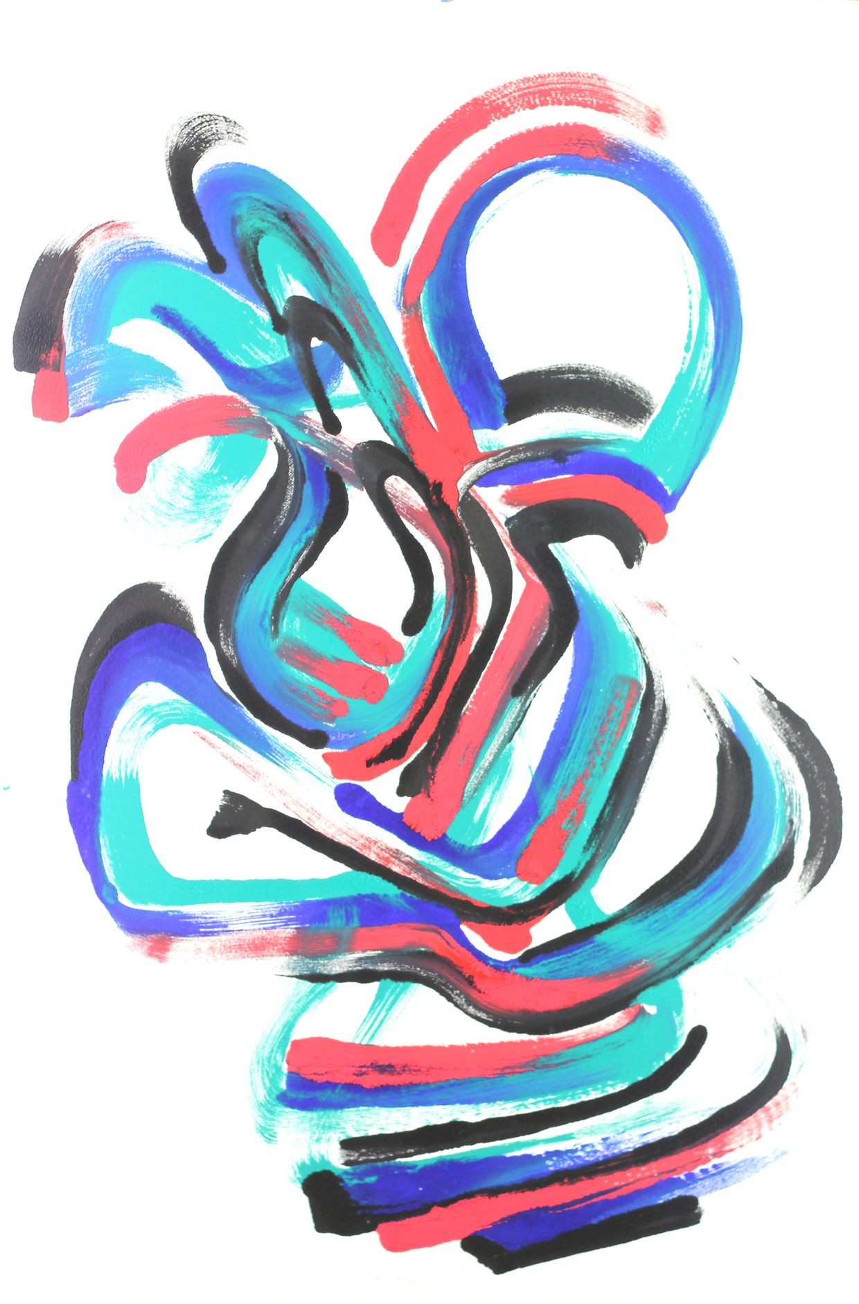 Roger Goldenberg's Visual Jazz Monotype Gallery D has prints pulled from shaped plates. Their style riffs on Goldenberg's shaped visual jazz paintings Entangoed