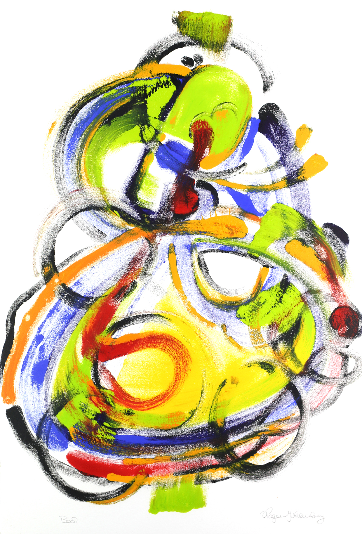 Roger Goldenberg's Visual Jazz Monotype Gallery D has prints pulled from shaped plates. Their style riffs on Goldenberg's shaped visual jazz paintings Bod