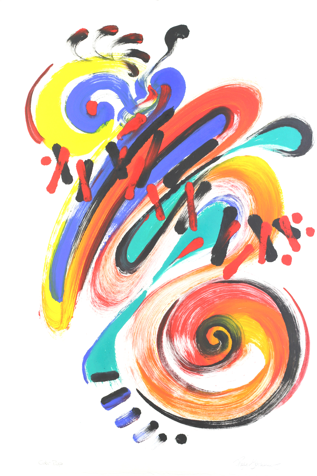 Roger Goldenberg's Visual Jazz Monotype Gallery D has prints pulled from shaped plates. Their style riffs on Goldenberg's shaped visual jazz paintings Color Bop
