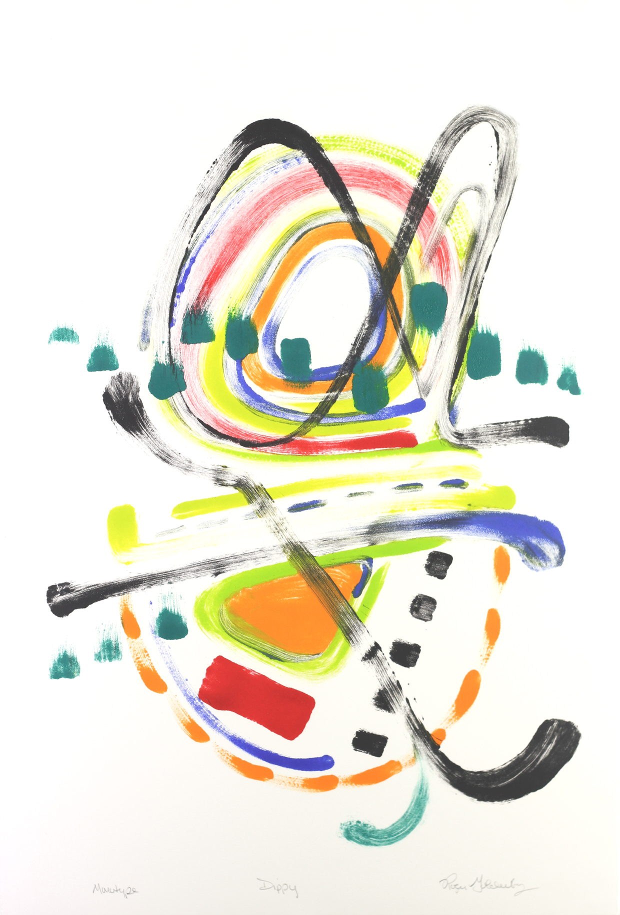 Roger Goldenberg's Visual Jazz Monotype Gallery D has prints pulled from shaped plates. Their style riffs on Goldenberg's shaped visual jazz paintings Dippy