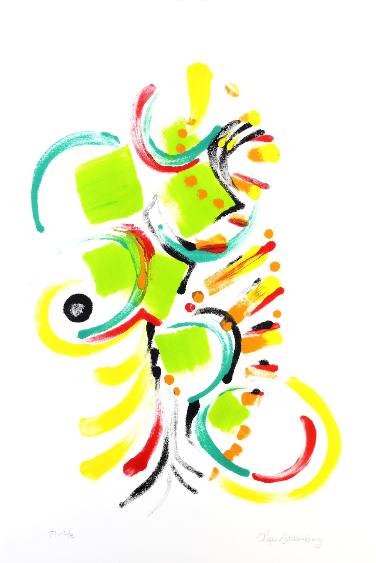 Roger Goldenberg's Visual Jazz Monotype Gallery D has prints pulled from shaped plates. Their style riffs on Goldenberg's shaped visual jazz paintings Flirtie