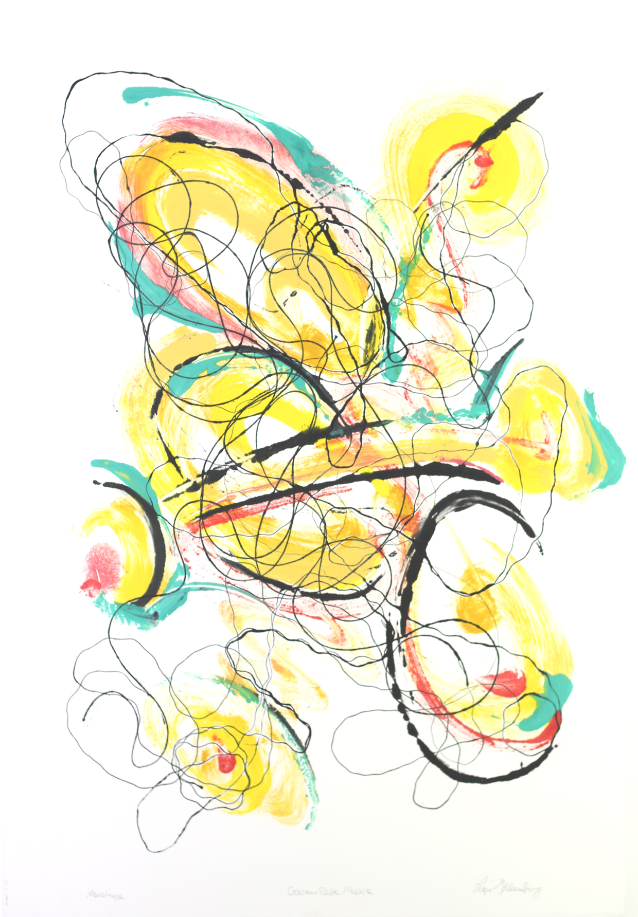 Roger Goldenberg's Visual Jazz Monotype Gallery D has prints pulled from shaped plates. Their style riffs on Goldenberg's shaped visual jazz paintings Golden Rule Muddle