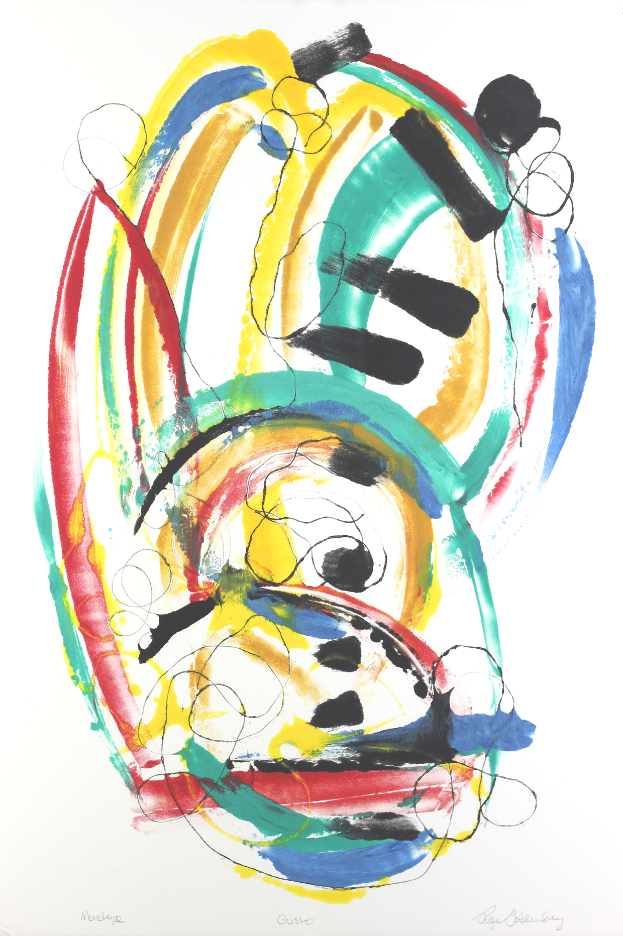 Roger Goldenberg's Visual Jazz Monotype Gallery D has prints pulled from shaped plates. Their style riffs on Goldenberg's shaped visual jazz paintings Gusto