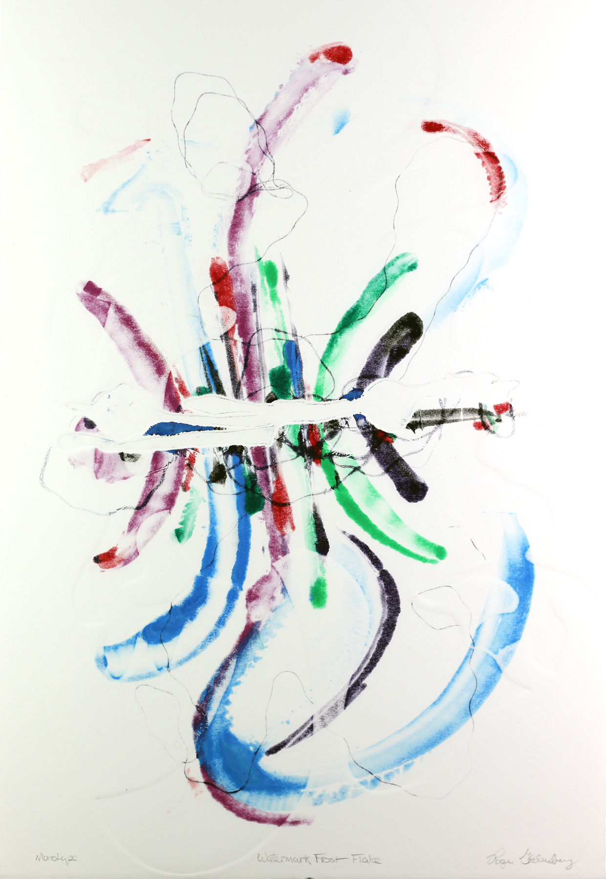 Roger Goldenberg's Visual Jazz Monotype Gallery D has prints pulled from shaped plates. Their style riffs on Goldenberg's shaped visual jazz paintings Watermark Frost Flake