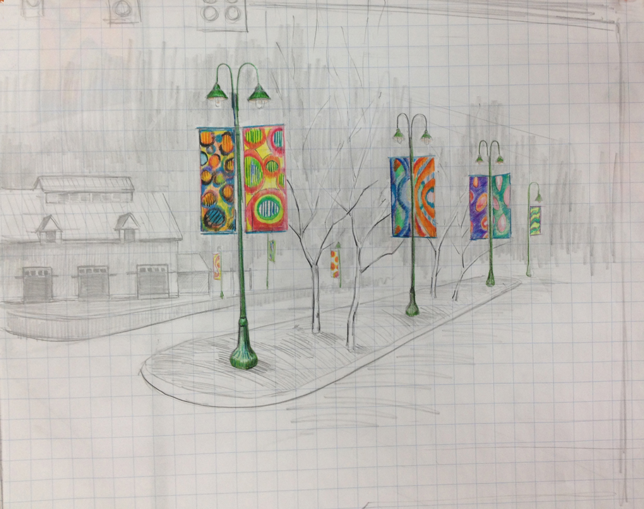 artist's sketch of parking lot entrance from Rte. 1