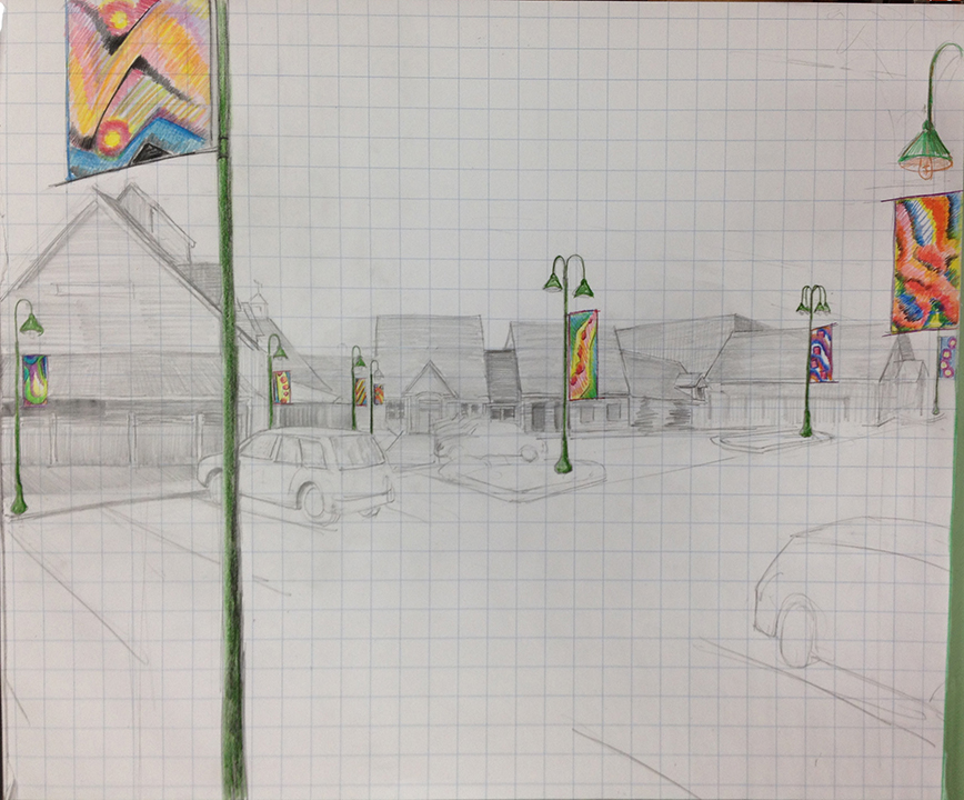 Artist's sketch of Stonewall Kitchen's parking lot
