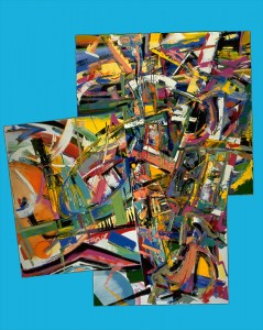 "Jazz Improv, 1996, oil on multiple canvases, 48"" x 38"" Shown at the former Rotenberg Gallery, Boston"