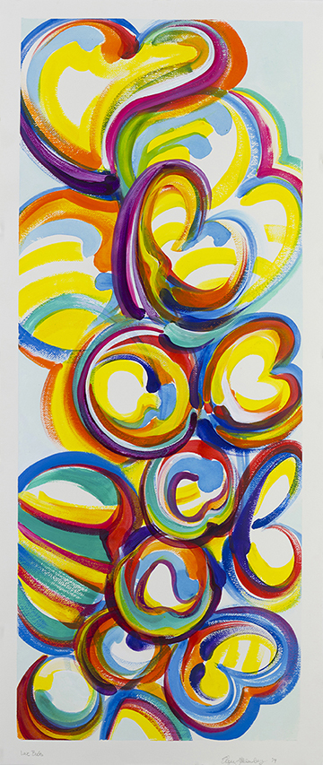 "Love Buds, acrylic paint on watercolor paper, 48""x 22"", private collection of Stonewall Kitchens"