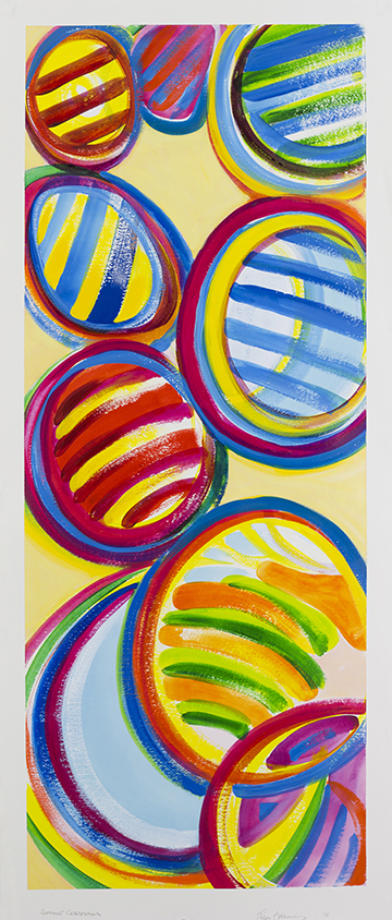 "Summer Celebration, acrylic paint on watercolor paper, 48""x 22"", private collection of Stonewall Kitchens"